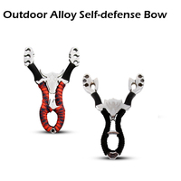 Hot Sale Portable Powerful Outdoor Self Defense Alloy Shot Ergonomic Grip Slingshot Catapult Hunting Camping No