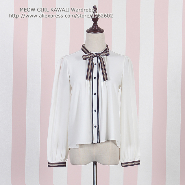 72d97c5ce560 Japanese Style Fint Vintage Stand Round Collar Chiffon Long Sleeve White  Blouse Chocolate Tie Bow Lolita Shirt Tops