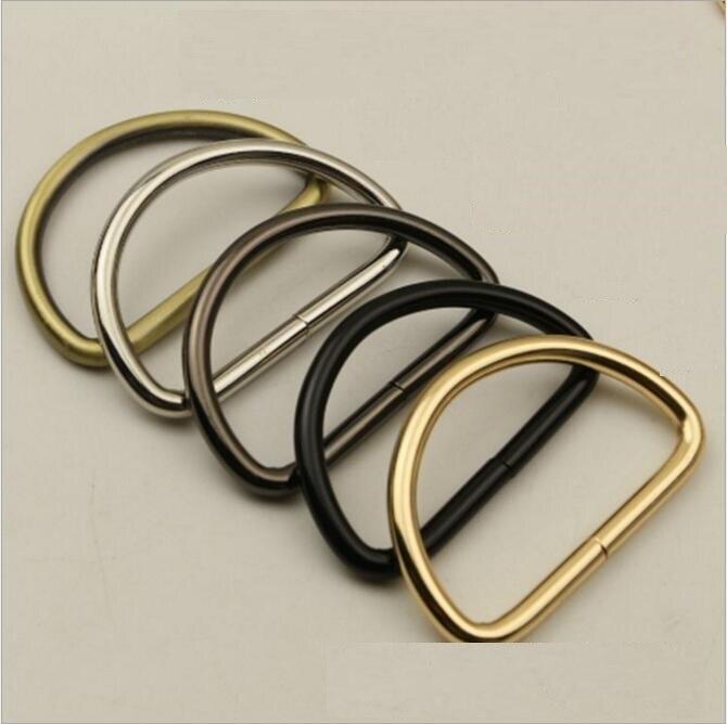 (50 PCS/lot) DIY hand leather luggage bag inner diameter 50mm shoulder strap link to adjust D buckle hook metal accessories