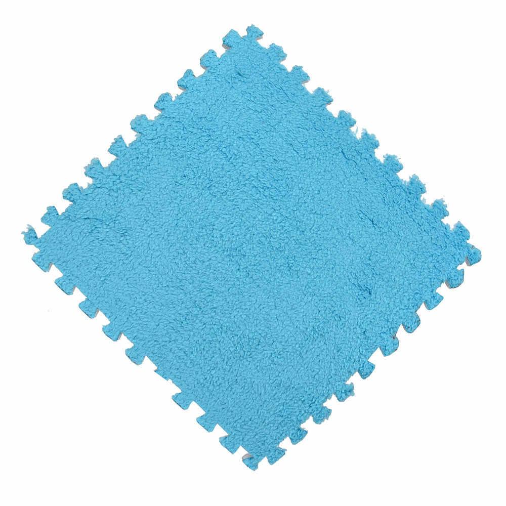 子供家庭のリビングルーム、モダンな 30*30 センチメートルカーペットの泡のパズルマット EVA シャギーベルベットエコ床 7 色 F719