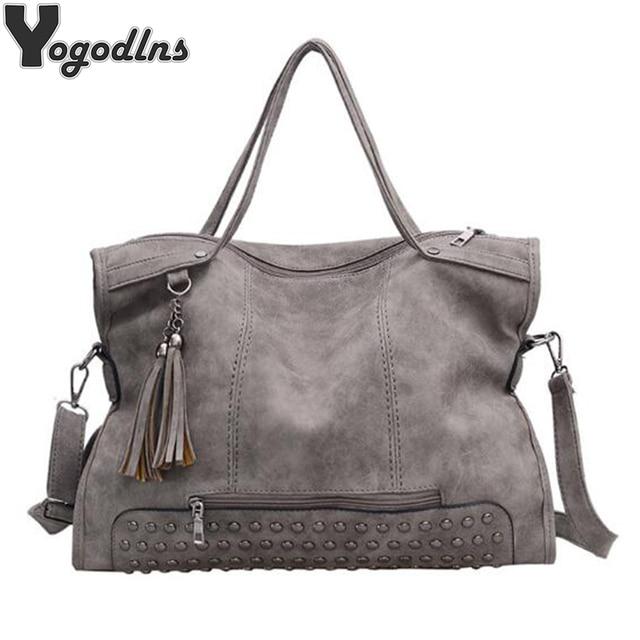 cf0ccd8b0d32 Vintage Rivet PU Leather Female Handbag Simple Style Tassel Messenger Bags  Women Shoulder Bag Large Capacity