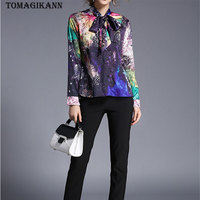 2018 Spring Euro Style Firework Print Bowtie Women Blouse Shirts Fashion OL Contrast Colors Single Breasted