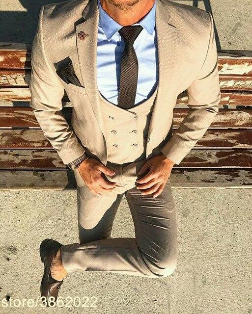 Индивидуальный заказ итальянский черный мужской костюм Классический Фрак Slim Fit 3 предмета жениха костюмы на заказ Пром Блейзер Masuclino