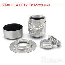 Gümüş Fujian 50mm F1.4 CCTV TV Film lens + C NEX Montaj SONY E Dağı NEX3 NEX6 NEX5 NEX7 a6500 A6300 A6000 A6100 A5000 A3500