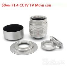 Silver Fujian 50mm F1.4 CCTV TV Movie lens+C NEX Mount for SONY E Mount NEX3 NEX6 NEX5 NEX7 A6500 A6300 A6000 A6100 A5000 A3500