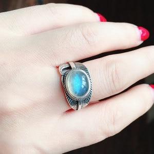 Image 5 - CSJ 100% 天然ラブラドライトリングスターリングシルバー女性ファムレディウェディング婚約指輪パーティーギフトファインジュエリー