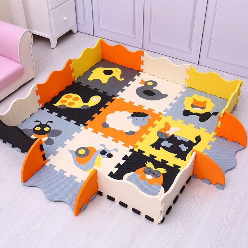 animais dos desenhos solida pelucia hexagono tapete criancas 02