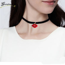 Steampunk Sexy Red Lips Chocker Necklace For Women Fashion Jewelry Black Velvet Mouth Pendant Necklaces Collares Bijoux(China)