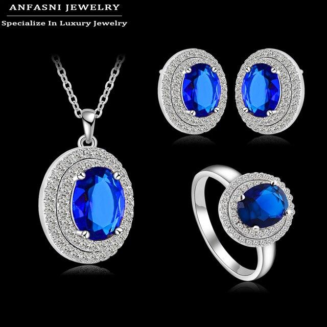 ANFASNI Vintage Beautiful Fashion Set Silver Color AAA Cubic Zircon Elegant Blue