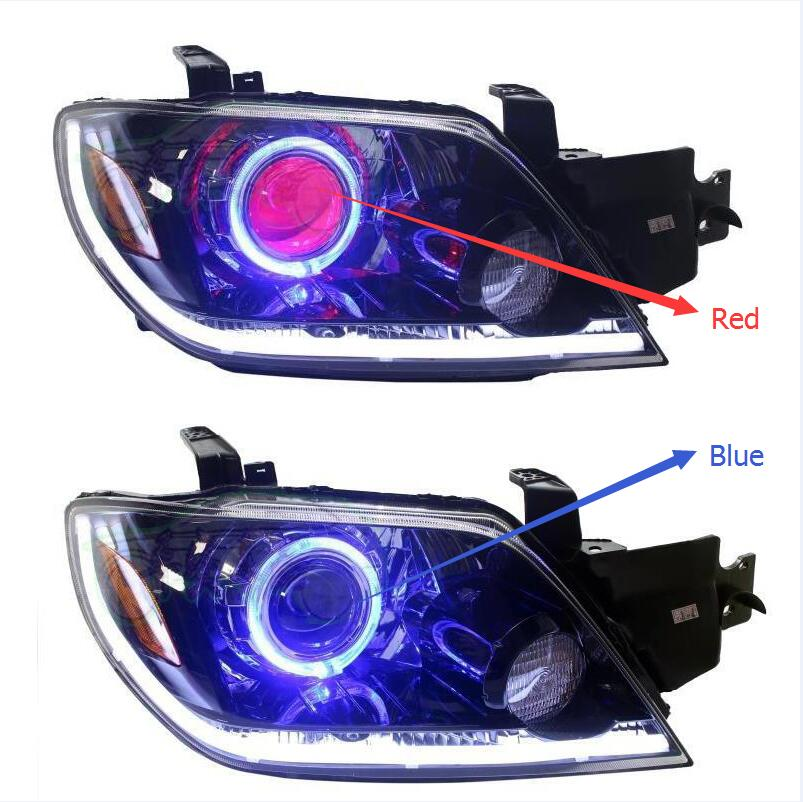Hireno Headlamp for Mitsubishi Outlander 2004-2007 Crete Headlight Assembly Angel Lens Double Beam HID Xenon 2pcs hireno headlamp for 2013 2015 nissan tiida headlight assembly led drl angel lens double beam hid xenon 2pcs