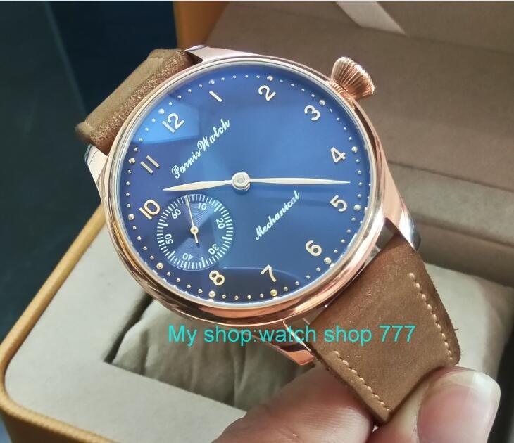 44mm PARNIS niebieski dial 17 klejnotów azjatyckich 6497/3600 mechaniczna ręka wiatr ruch zegarek męski złota róża case zegarek mechaniczny 323A w Zegarki mechaniczne od Zegarki na  Grupa 2