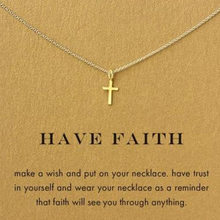 Gold Cross Pendant Necklace Women Girl Kids,Mini Charm Pendant Gold Color Jewelry Crucifix Christian Ornaments Drop shipping(China)