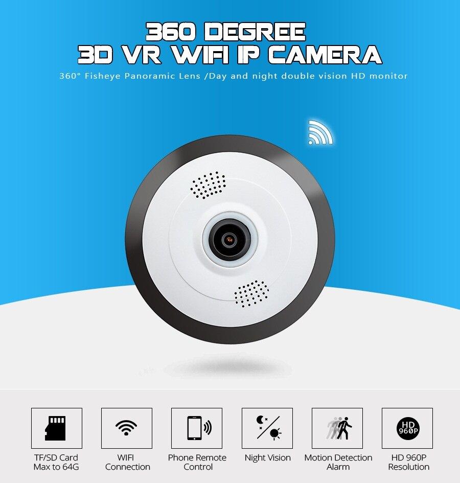 Mini HD 960P Wireless Wifi IP Camera 1.44MM Lens 360 Degree Panoramic Fisheye 1.3MP Security Camera Support Phone APP Control