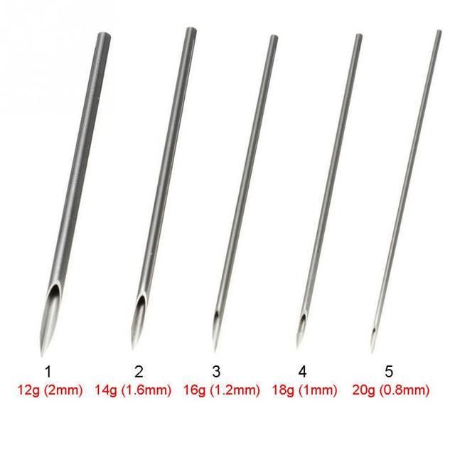 10pcs Disposable Sterile Body Piercing Needles Medical Tattoo Piercing Needles For Navel Nipple Ear Nose Lip 12g/14g/16g/18g/20g 5