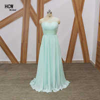 Elegant Mint Green Bridesmaid Dress One Shoulder A Line Floor Length Long Bridesmaid Dress Cheap 2017