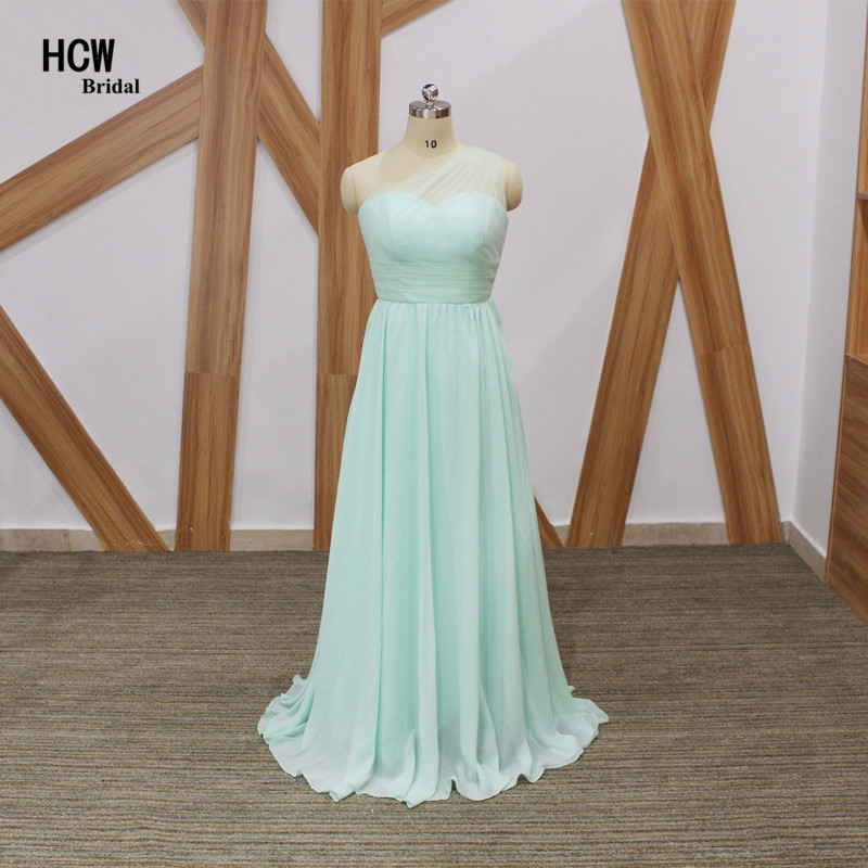 Real Photos Mint Green One Shoulder Long   Bridesmaid     Dresses   Wholesale Pleat Chiffon A Line Cheap Wedding Party   Dress