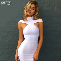 2016 New Summer Sexy Off The Shoulder Halter Bandage Dress White Khaki Black Club Party Dress