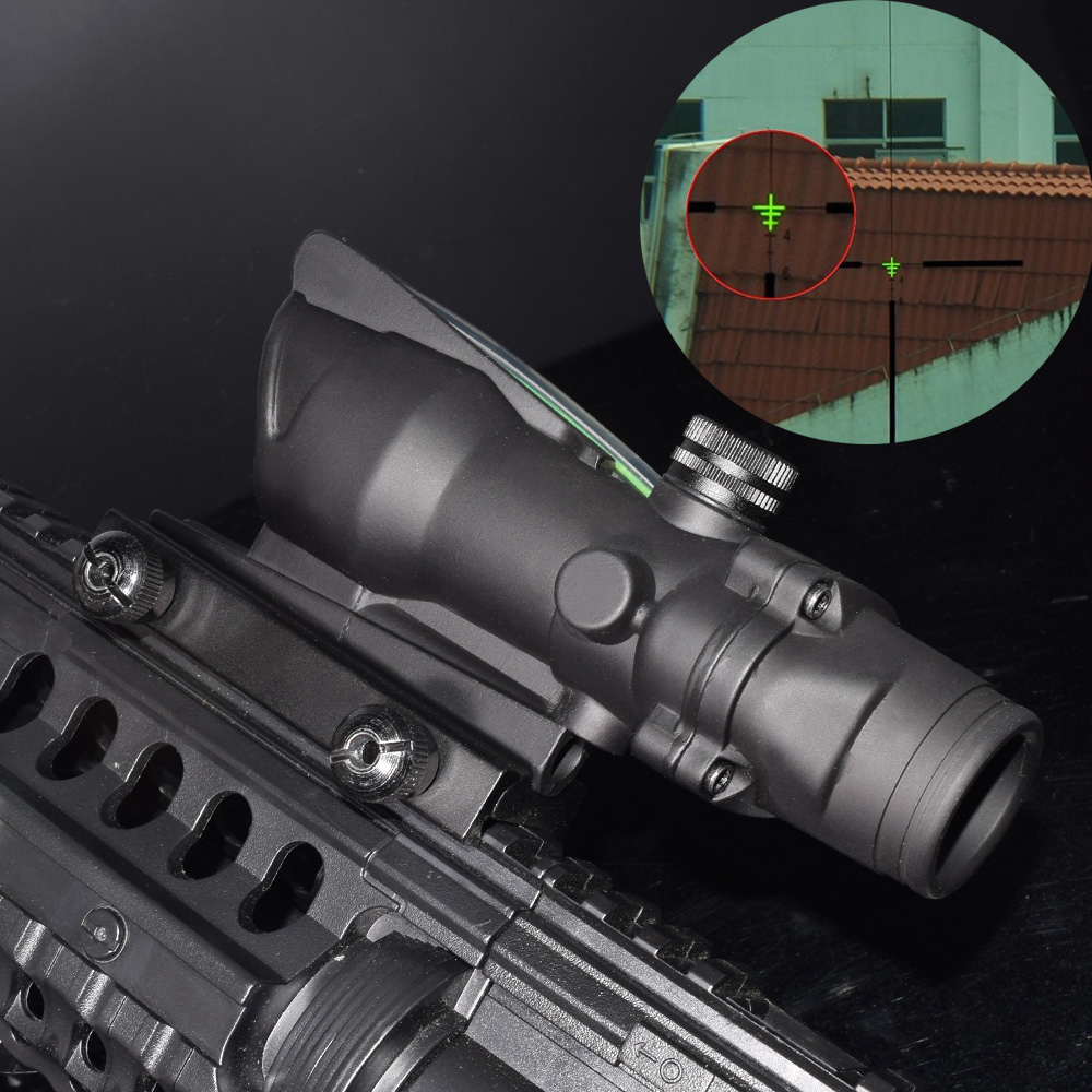 WIPSON New ACOG 4x32 Rifle Scope Front Rear Sights hunting shooting with Real Red Fiber for weapon AIRSOFT AIR PISTOL ARM цены онлайн