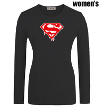 Melting Superman Marvel Superhero Bodybuilding Fitness Printed T Shirt Casual Long Sleeve Women s Girl s