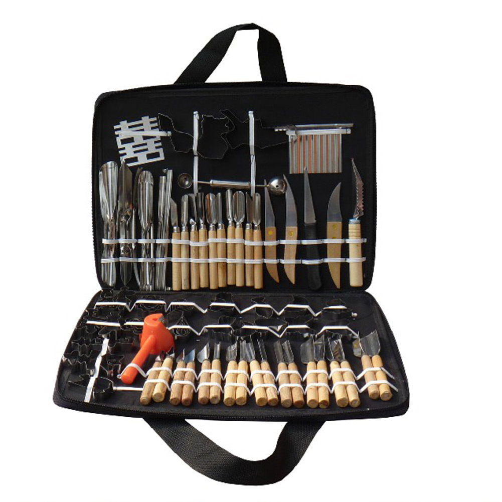 Practical 80Pcs Vegetable Fruit Carving Chisel Stainless steel Shipping Tools Kit With Bag For Practice Family