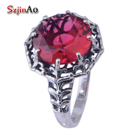Szjinao mode punk alte weisen rote stein kristall vintage ring weiblichen schmuck soild 925 sterling silber victoria wieck ring