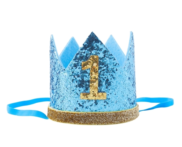 New Boy Blue Silver First Birthday Hat Girl Gold Pink Priness Crown Number 1st 2 3