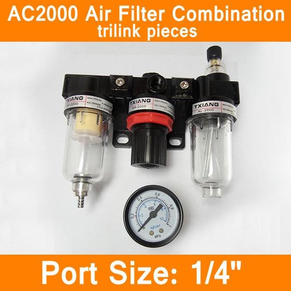 AC2000 Air Filter Combination Trilink Pieces Port Size 1/4 Pneumatic Parts Air Source Treatment Unit Pressure Regulator pneumatic parts air source treatment air filter af2000 02 pt1 4 air source treatment unit