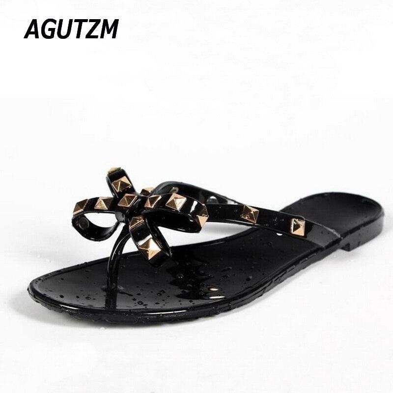 AGUTZM Women Rivets Bowknot Flat Slippers Girls Flip Flops Summer Shoes Cool Beach Jelly Shoes Dropshipping dropshipping dropshipping