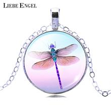 LIEBE ENGEL Pretty Cute Dragonfly Crystal Cabochon Pendant Fashion Silver Color Chain Collar Necklace for Women Elegant Jewelry