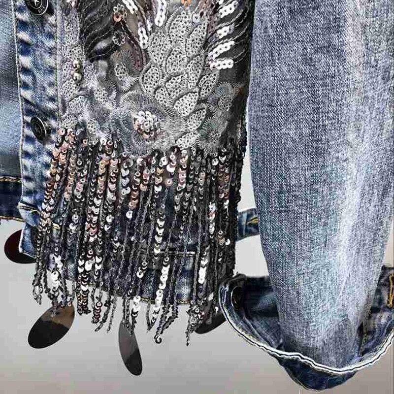 Mode fait à la main perle Rivet Denim veste femmes Rivet gland Slim Jeans veste courte paillettes Jeans veste décontracté fille Outwear - 4