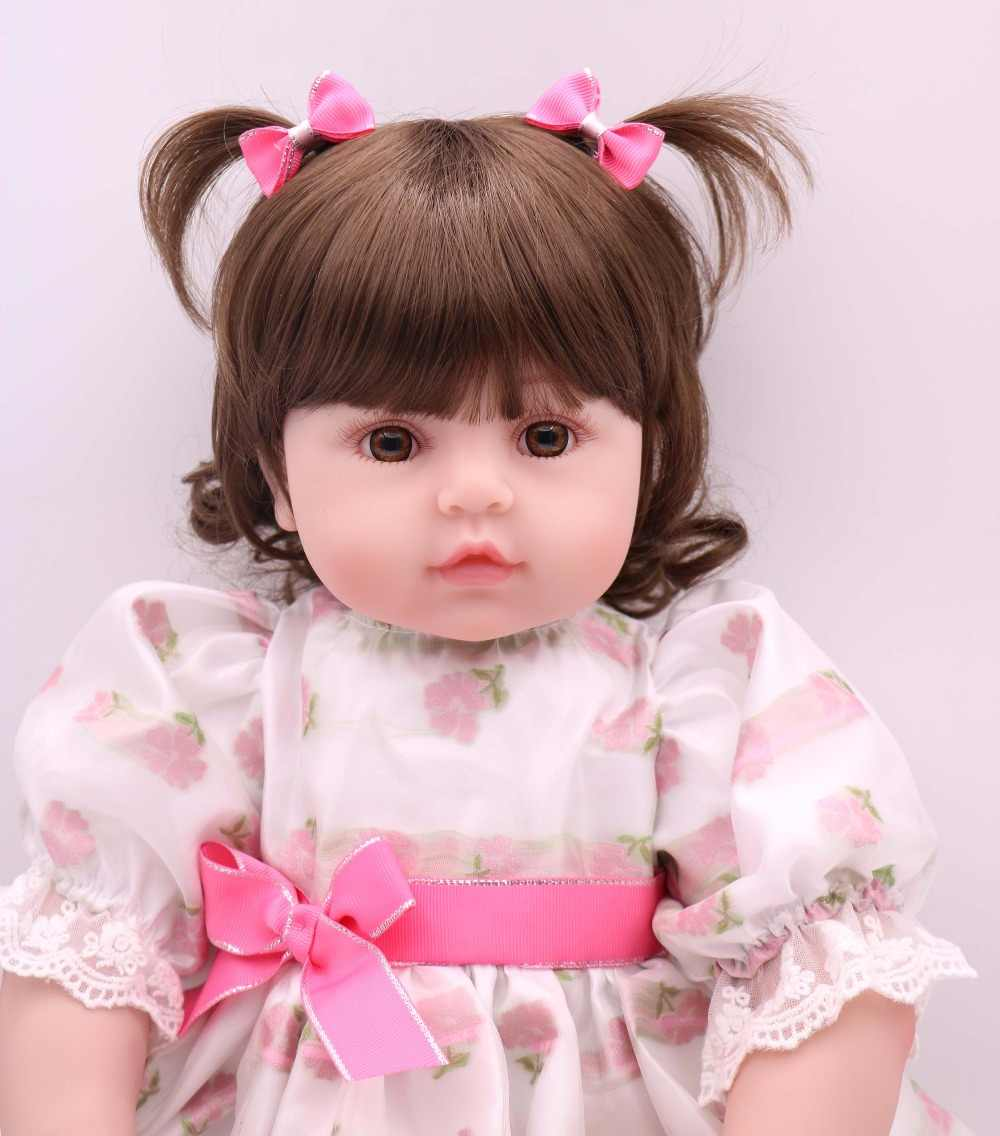 High-end design 61cm Silicone Reborn Baby Doll Toy big Vinyl Princess Toddler Girl Babies Doll Play House Toy safe and non-toxic