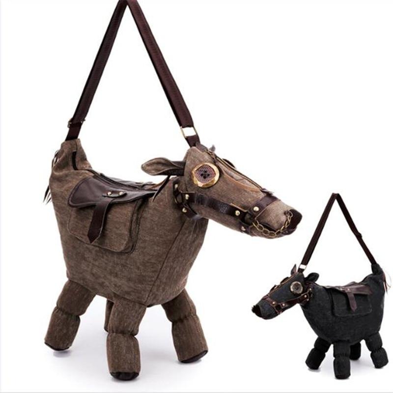 New Handbag canvas Donkey Horse Shape Shoulder Bag With Saddle Can be as a Pillow or home decoration Tote Bag Messenger Bag 482 dollice dr 655 canvas camera bag black as domke f7