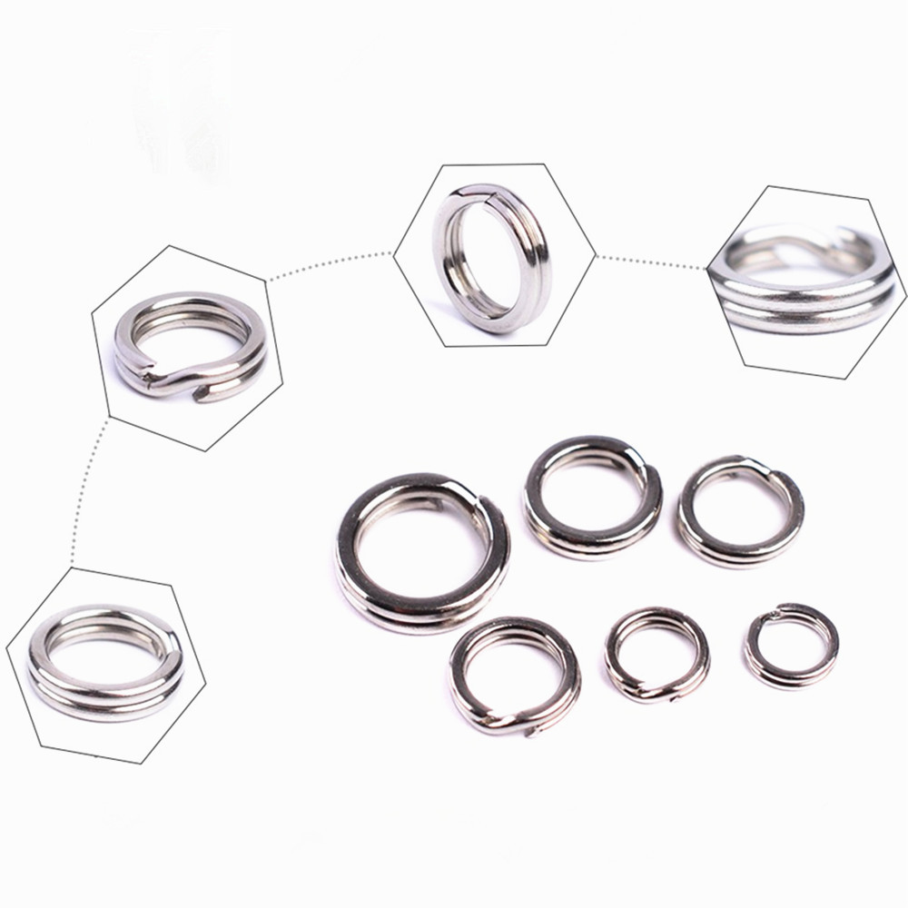 30 Pcs Stainless Steel Stainless Steel Super Double Flattened Ring Winter Carp  Swivel Lure Baits Connector Fishing Accessories