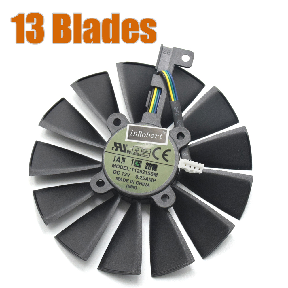 T129215SM 4PIN 13-Blades Cooler Fan Use For ROG POSEIDON GTX1080TI P11G GAMING Card Cooling Fan with DC12V 0.25A computer cooler radiator with heatsink heatpipe cooling fan for hd6970 hd6950 grahics card vga cooler