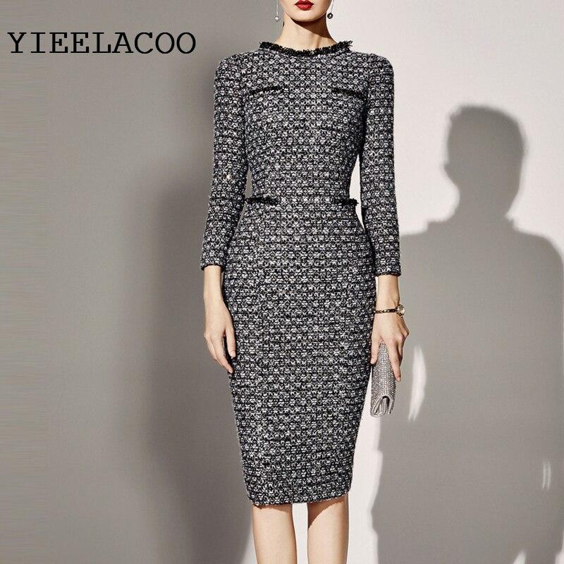 Professional Women S Dress Tweed Dress Custom 2019 Autumn
