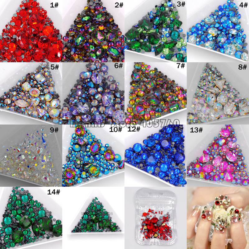 1Pack Mix Sizes Mix Shape Multi-Colored Glitter 3D Diamond Facet Flat Back Rhinestones Acrylic Nail Art Crystal Gems Decoration dn2 39 mix 2 3mm solvent resistant neon diamond shape glitter for nail polish acrylic polish and diy supplies1pack 50g
