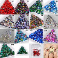 1Pack Mix Sizes Mix Shape Multi-Colored Glitter 3D Diamond Facet Flat Back Rhinestones Acrylic Nail Art Crystal Gems Decoration