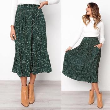 White Dots Floral Print Pleated Midi Skirt Women Elastic High Waist Side Pockets Skirts Summer Elegant Female Bottom Skirts