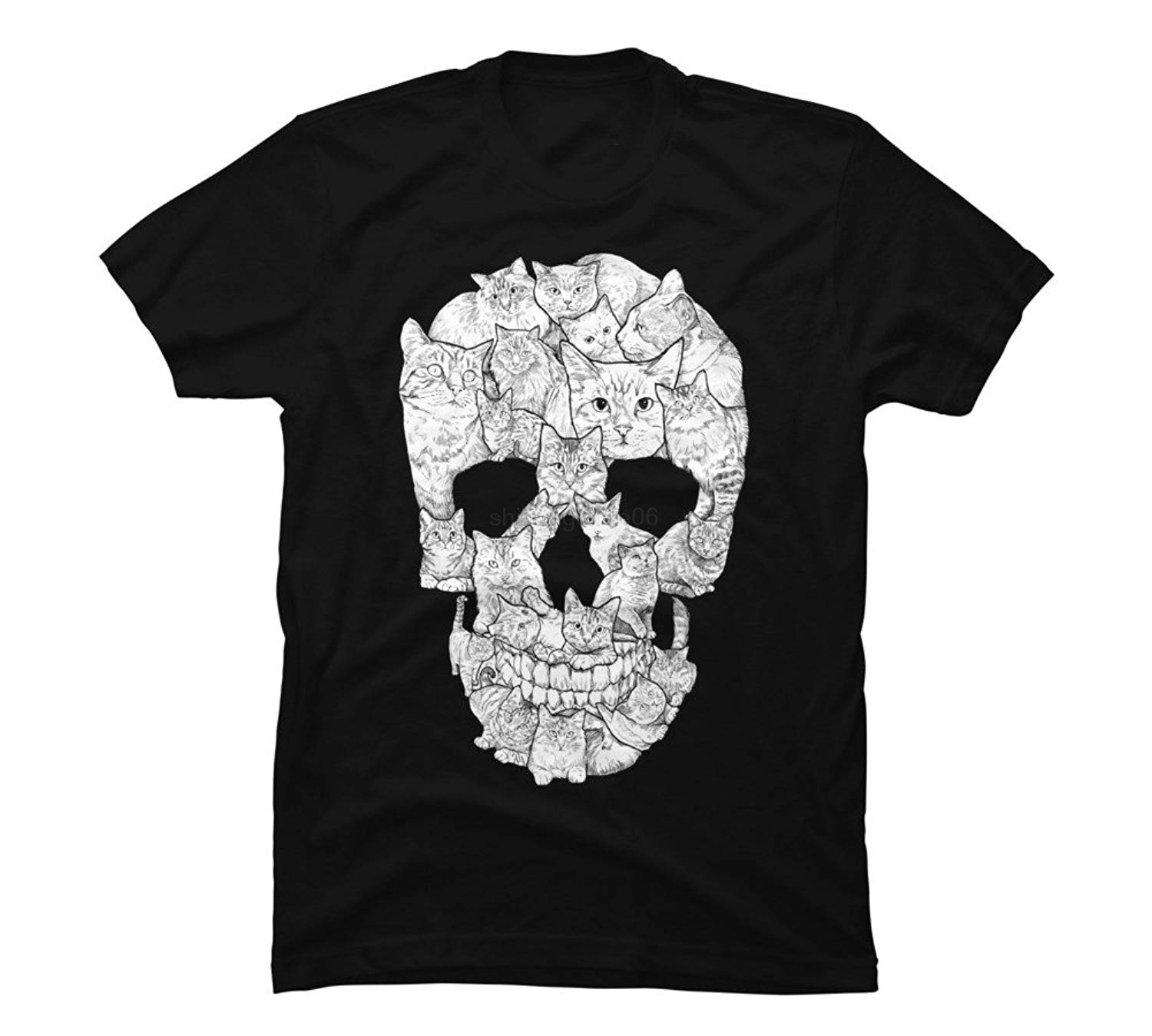 Design By Humans Sketchy Cat Skull Men's Graphic T Shirt
