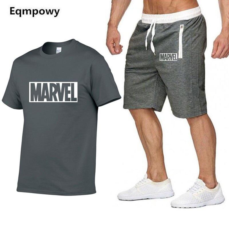 2019 New Men   T     Shirt   Sets Marvel Printed Summer Suits Casual Tshirt Men Tracksuits Set Male   T  -  shirt   fashion Clothing