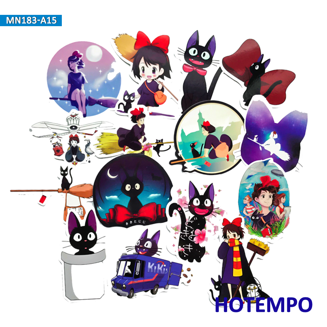 15pcs Kiki's Delivery Service Stickers For Girl Children Kids DIY Letter Diary Scrapbooking Stationery Pegatinas Decal Stickers