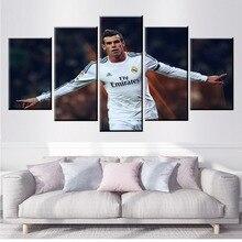 цены на 5 Panel Real Madrid Gareth Bale Football Canvas Printed Painting For Living Wall Art Home Decor HD Picture Artwork Modern Poster  в интернет-магазинах