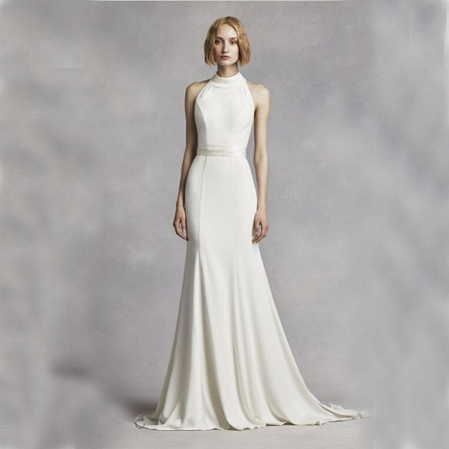 2016 Sheath High Neck Halter Jersey Gown With T strap racer back ...