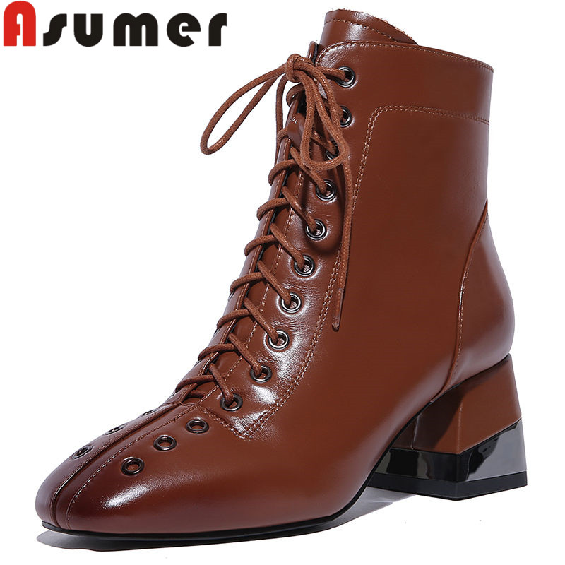 ASUMER Autumn Boots Adult Genuine-Leather High-Quality Women Square Toe NEW Solid Ankle