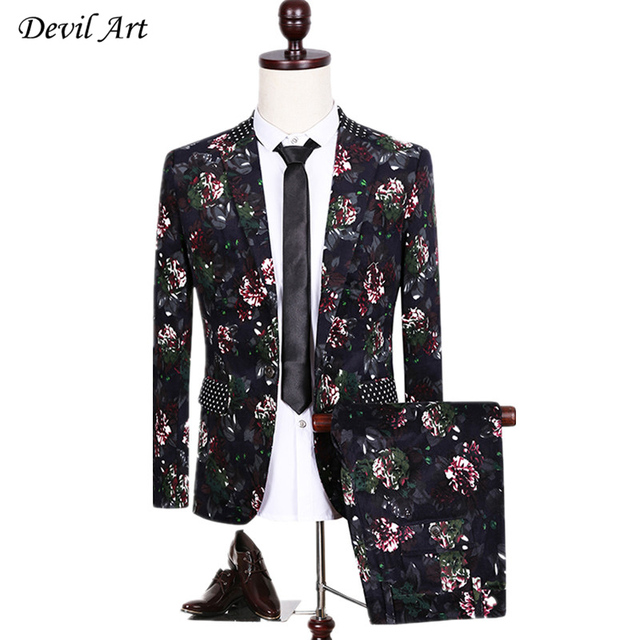 Brand Clothes Fashion Dress Blazer Men Floral Suits Men Spring Autumn Outerwear Business Wedding Party Suit Free Shipping By DHL