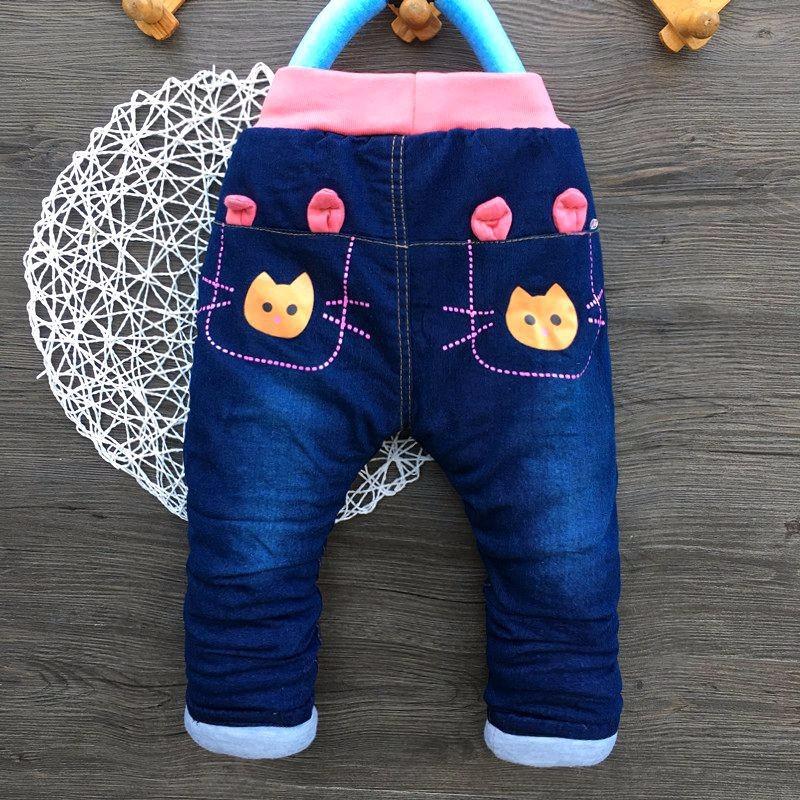 Cotton Padded Jeans Warm Kids Girls Jeans Cartoon Rabbit Infant Trousers New Denim Girl Outerwear 2016 Winter Children Clothing (2)
