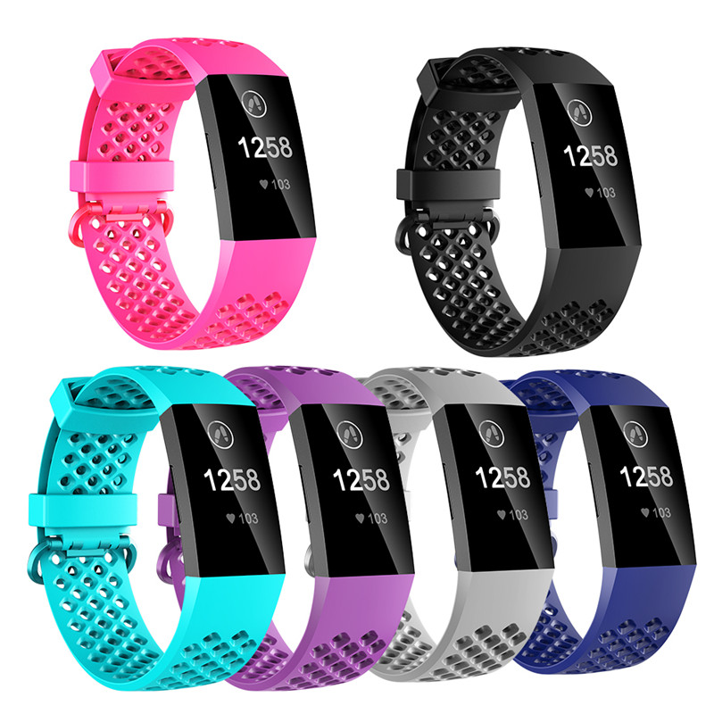 Fitness Bands For Fitbit Charge 3 Breathable Silicone Wrist Strap Sport Bracelet For Outdoor Activity Smart Accessory