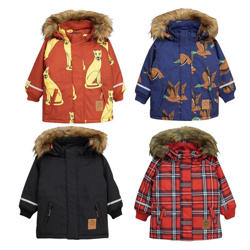 Enfants Veste 2018 Mini Automne Hiver Garçons Filles Lion Impression À Capuchon De Fourrure Manteau Bébé Enfants Coton Épaissir Chaud Outwear Vêtements