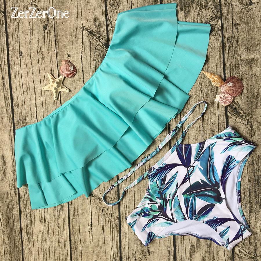 Bikini 2017 High Waist Swimsuit Ruffled Vintage Bikinis Women Swimwear Bandeau Solid Top Print Bottom Bathing Suits Beach Wear bohemian ruffled bandeau bikini
