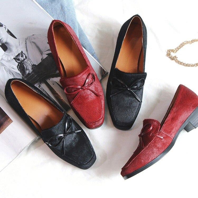 Toe {zorssar} De Haute Noir Femmes Loisirs Bas Carré Profonde Slip Peu Dames Nouveau Crin Chaussures Cheval 2018 Mode Talon Rouge vin Talons sur PxqPrtaFw